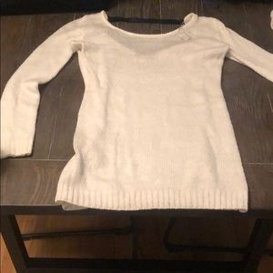 White tunic sweater w faux leather strap